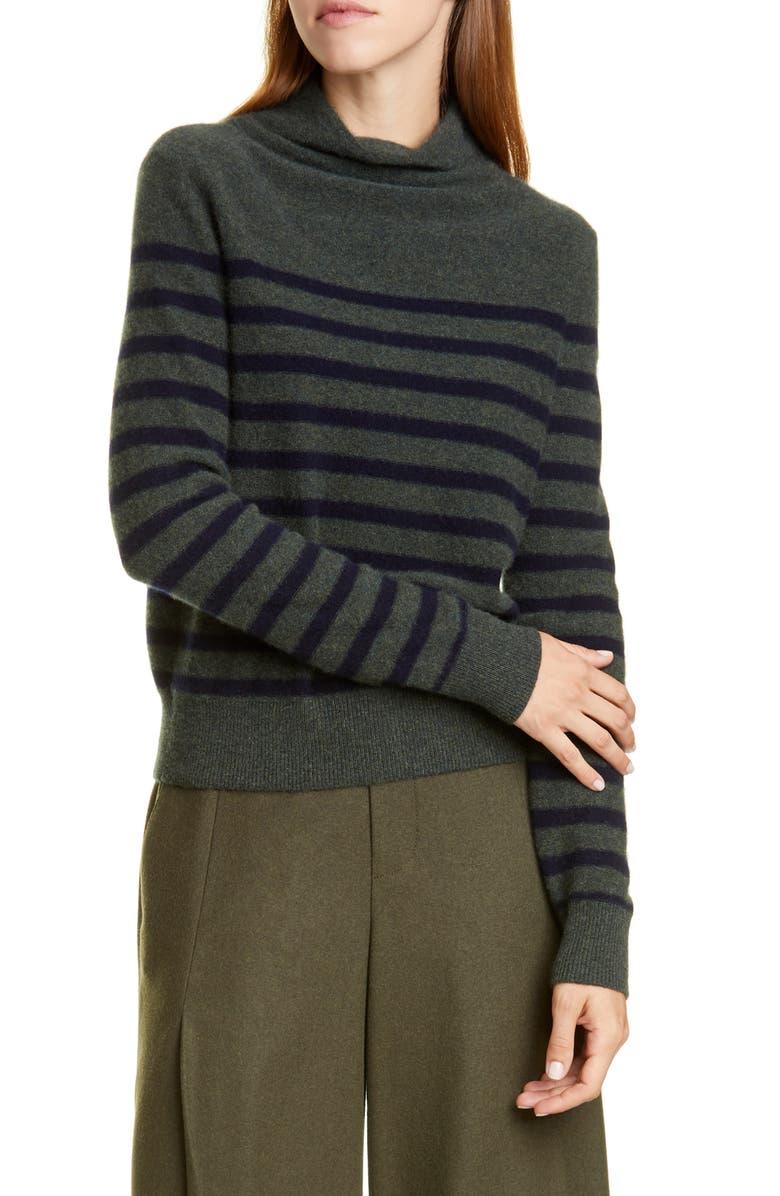 VINCE Breton Stripe Turtleneck Cashmere Sweater, Main, color, HEATHER MOSS/ COASTAL