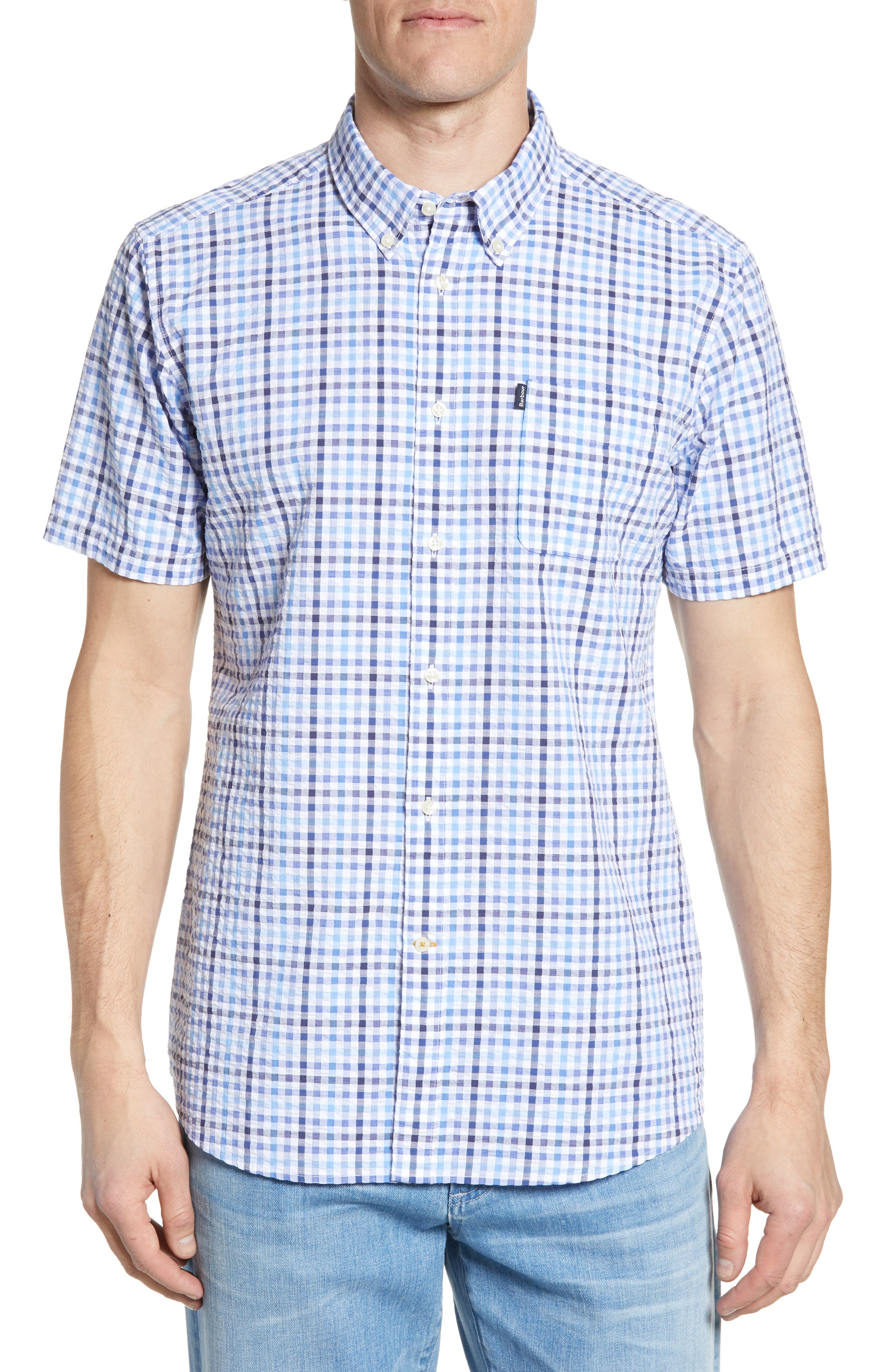 ,                             Tailored Fit Check Seersucker Woven Shirt,                             Main thumbnail 1, color,                             NAVY