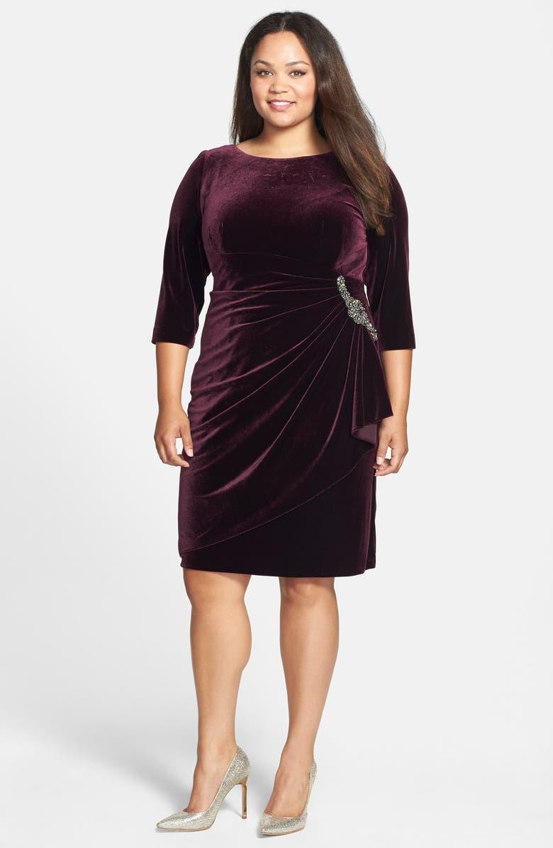 Embellished Draped Velvet Dress