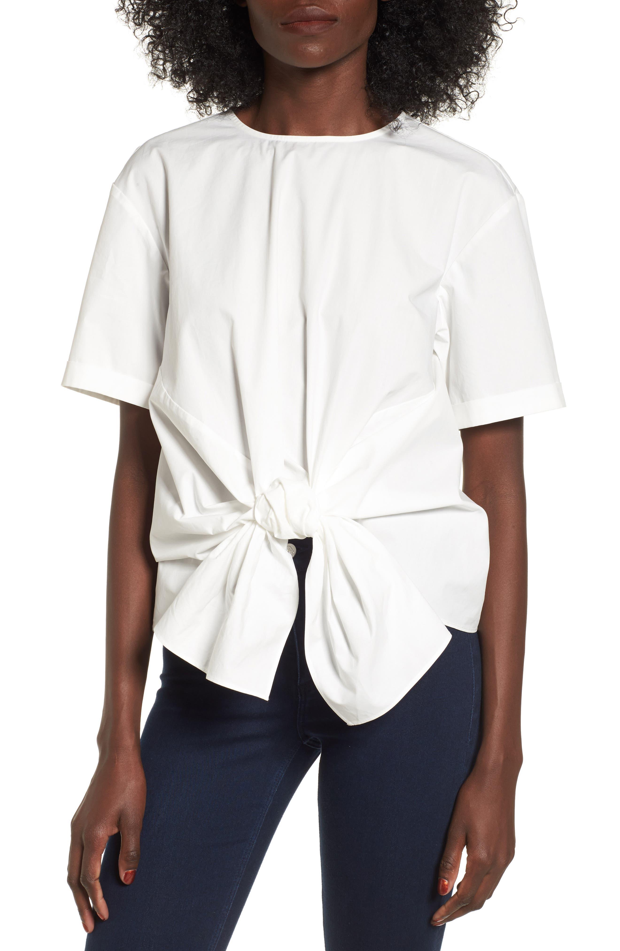 Tie Front Blouse, Main, color, 100