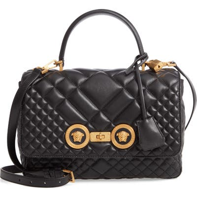 Versace First Line Tribute Quilted Leather Top Handle Shoulder Bag - Black