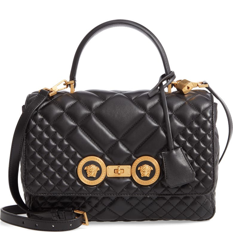 VERSACE FIRST LINE Tribute Quilted Leather Top Handle Shoulder Bag, Main, color, BLACK/ TRIBUTE GOLD
