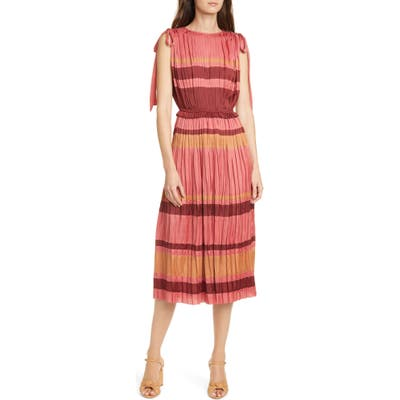 Ulla Johnson Alessa Stripe Midi Dress, Pink
