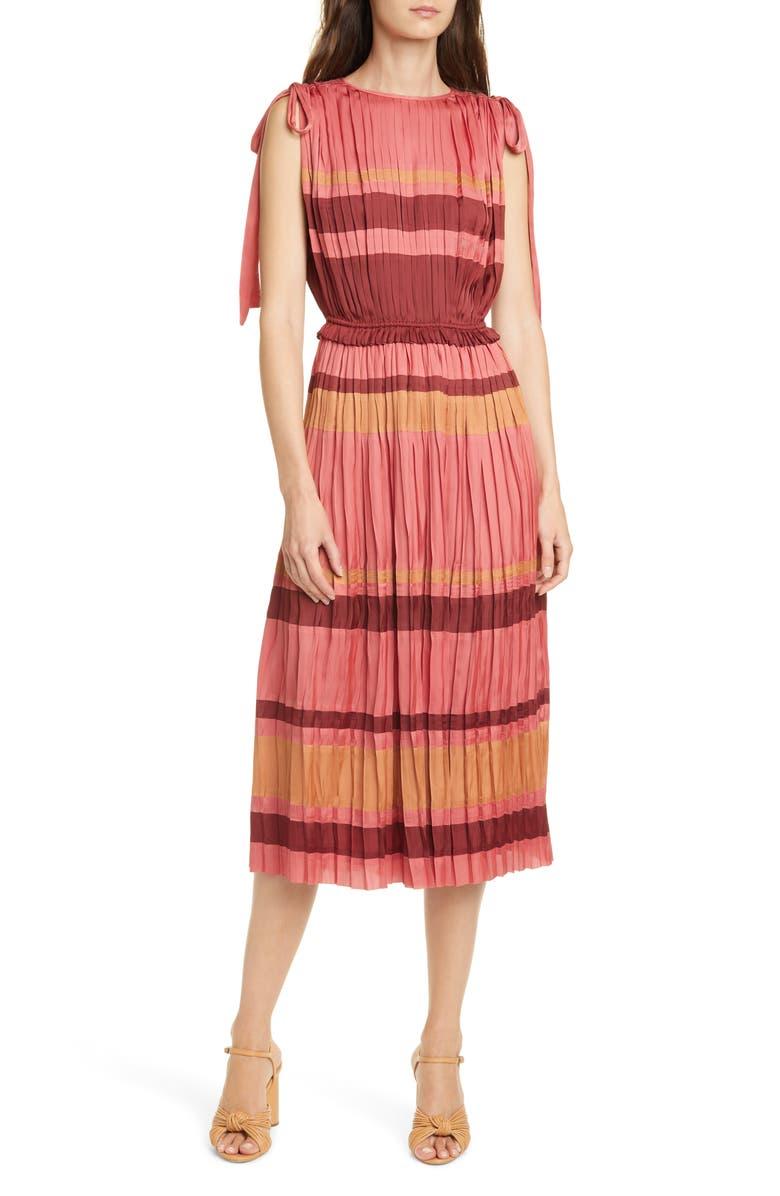 ULLA JOHNSON Alessa Stripe Midi Dress, Main, color, CERISE