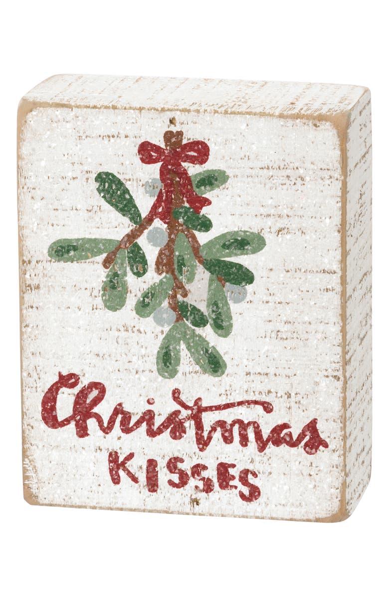 PRIMITIVES BY KATHY Christmas Kisses Wood Box Sign, Main, color, 100