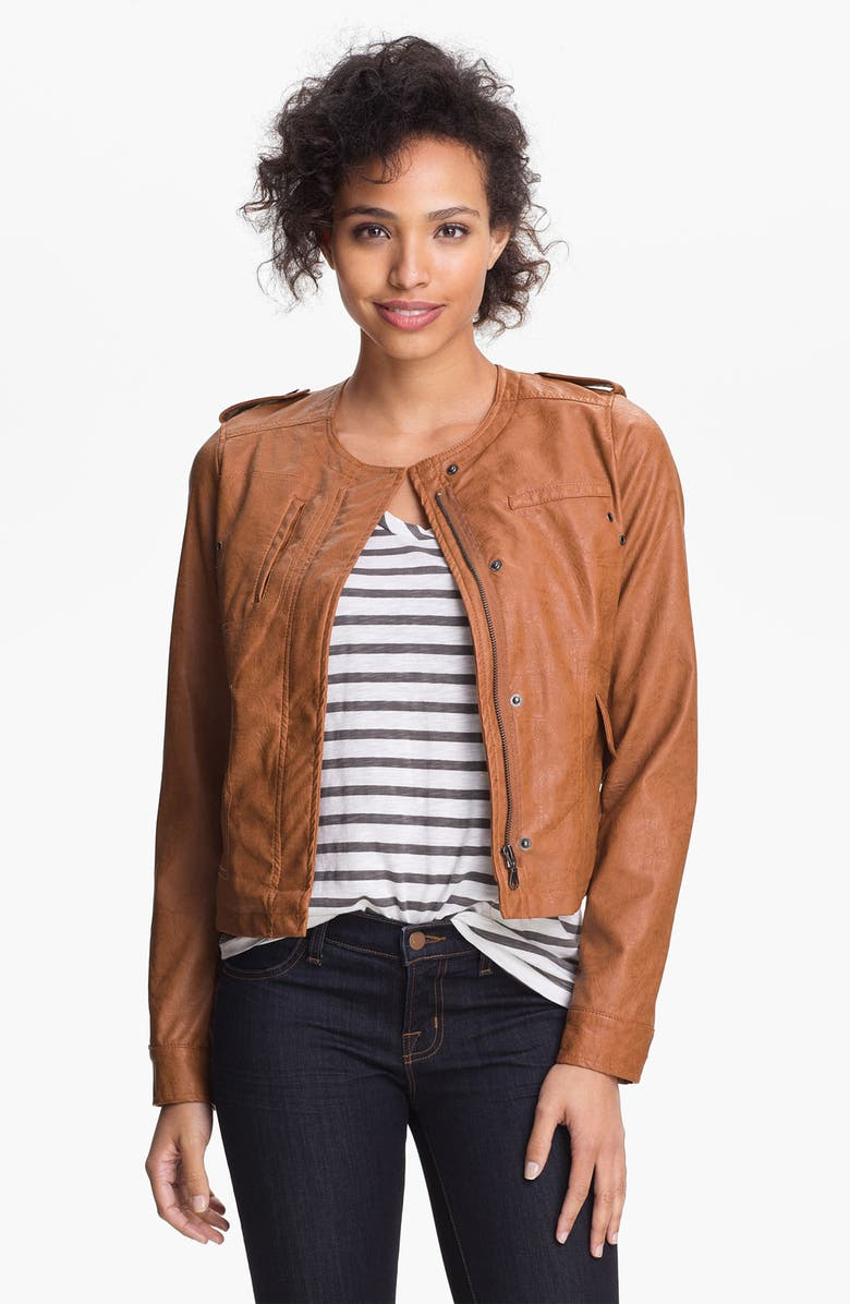 DKNY Collarless Faux Leather Scuba Jacket, Main, color, 250