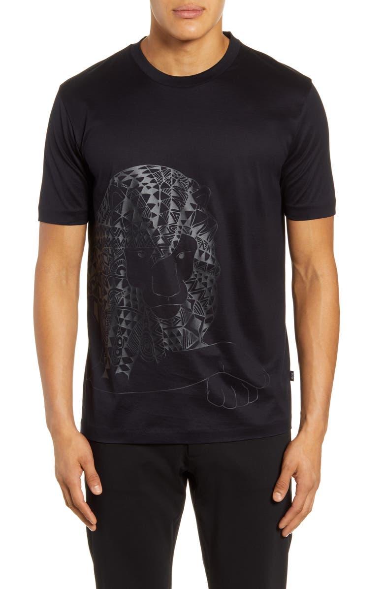 BOSS Tiburt Lion Graphic T-Shirt, Main, color, BLACK