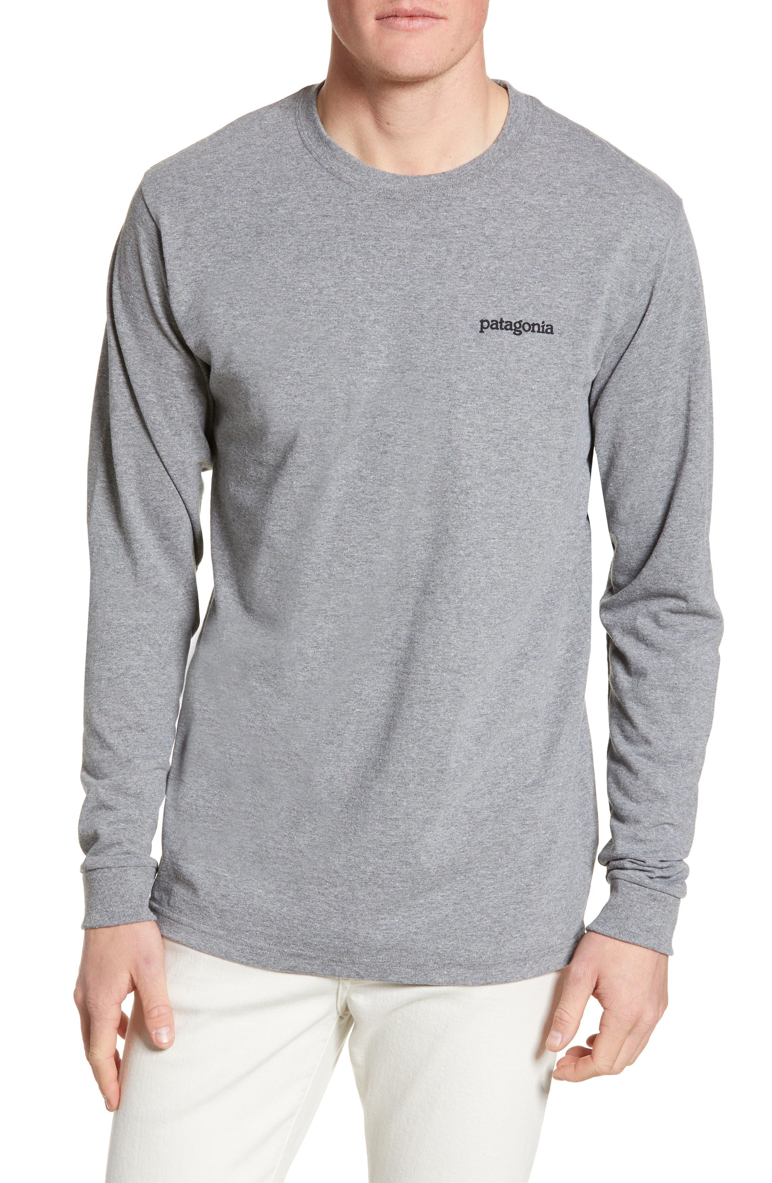 Patagonia Fitz Roy Horizons Graphic Long Sleeve Responsibili-Tee T-Shirt, Grey