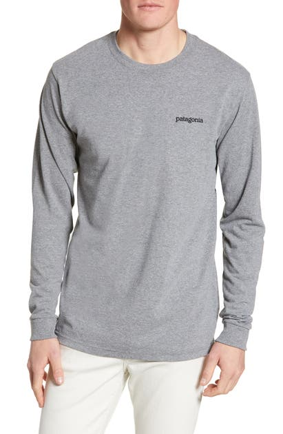 Patagonia Fitz Roy Horizons Graphic Long Sleeve Responsibili-Tee T-Shirt In Gravel Heather