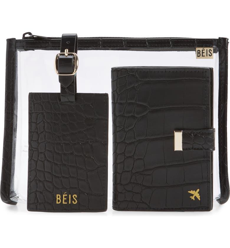 BÉIS The Travel Set Passport Wallet, Pouch & Luggage Tag, Main, color, BLACK CROC