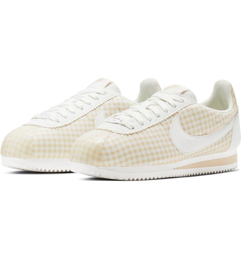 NIKE Classic Cortez QS Gingham Sneaker, Main, color, SUMMIT WHITE/ WHITE-DESERT