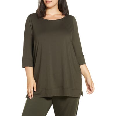 Plus Size Eileen Fisher Ballet Neck Tunic Top, Brown