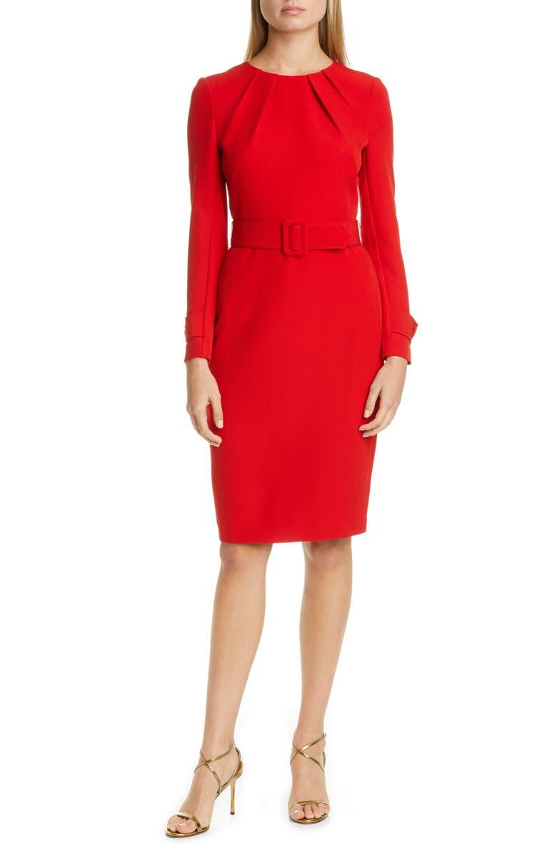 BADGLEY MISCHKA COLLECTION Badgley Mischka Long Sleeve Belted Sheath Dress, Main, color, CHERRY