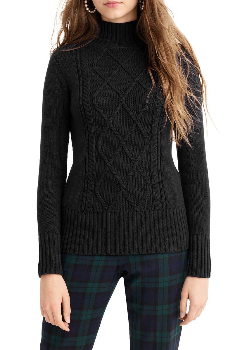 J.CREW Mock Neck Center Cable Knit Sweater, Main, color, BLACK