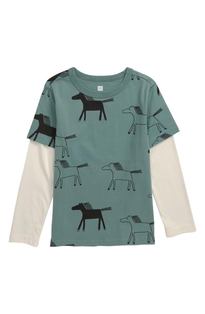 TEA COLLECTION Print Layered Sleeve Pocket T-Shirt, Main, color, HIGHLAND HORSES/ SAGEBRUSH