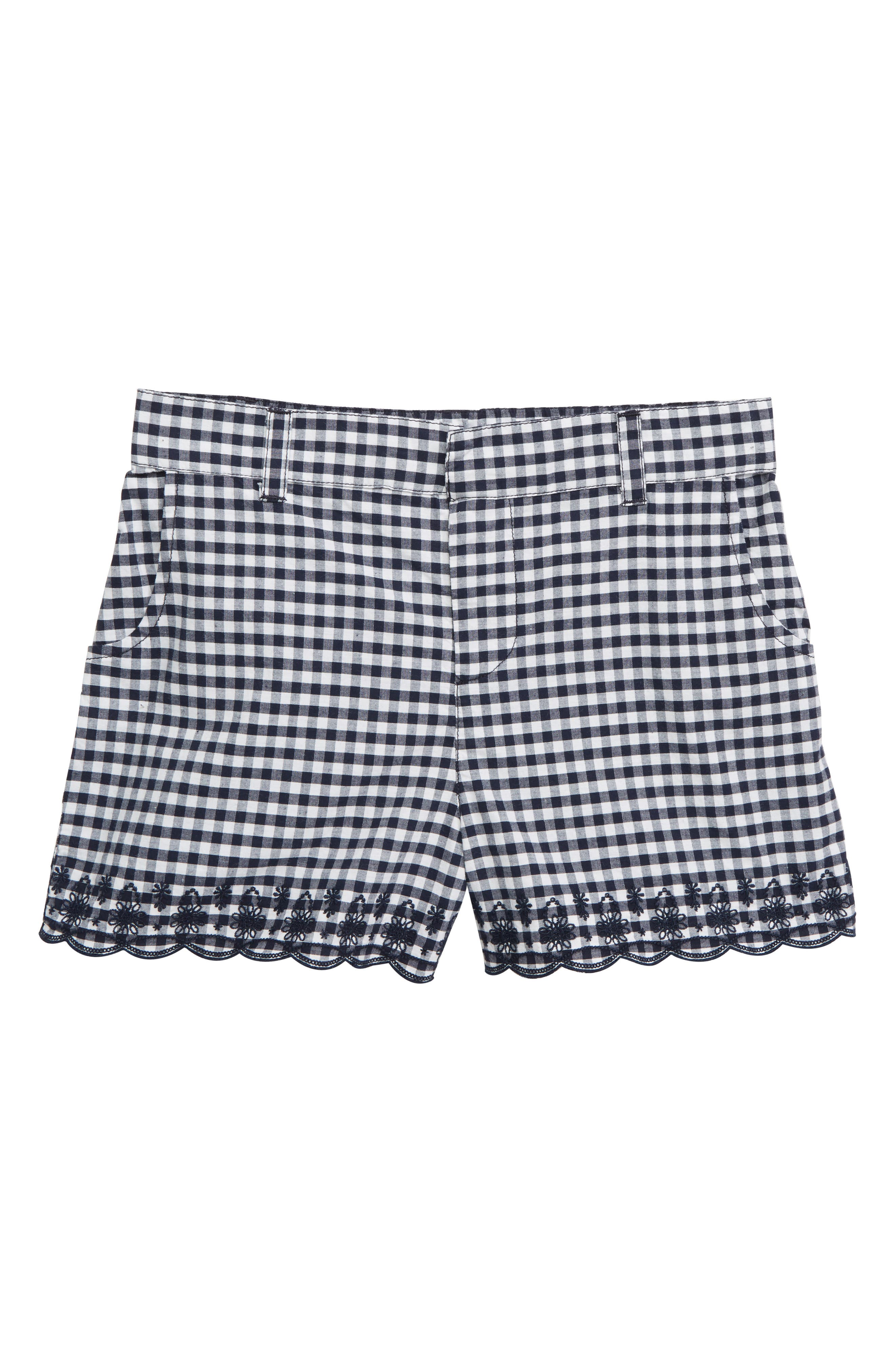 Embroidered Gingham Shorts, Main, color, NAVY PEACOAT GINGHAM
