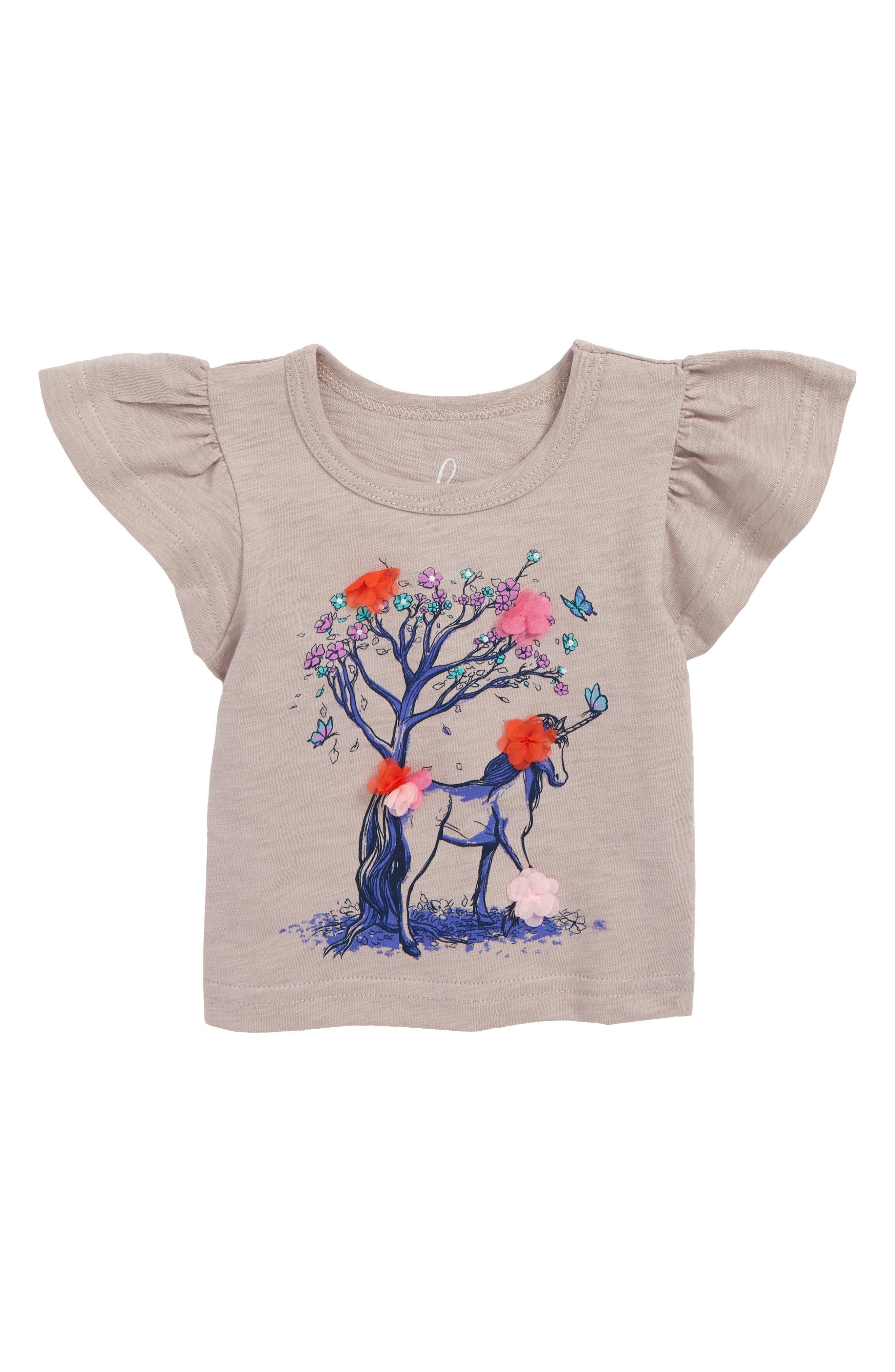 ,                             Peek Flower Unicorn Flutter Sleeve T-Shirt,                             Main thumbnail 1, color,                             500