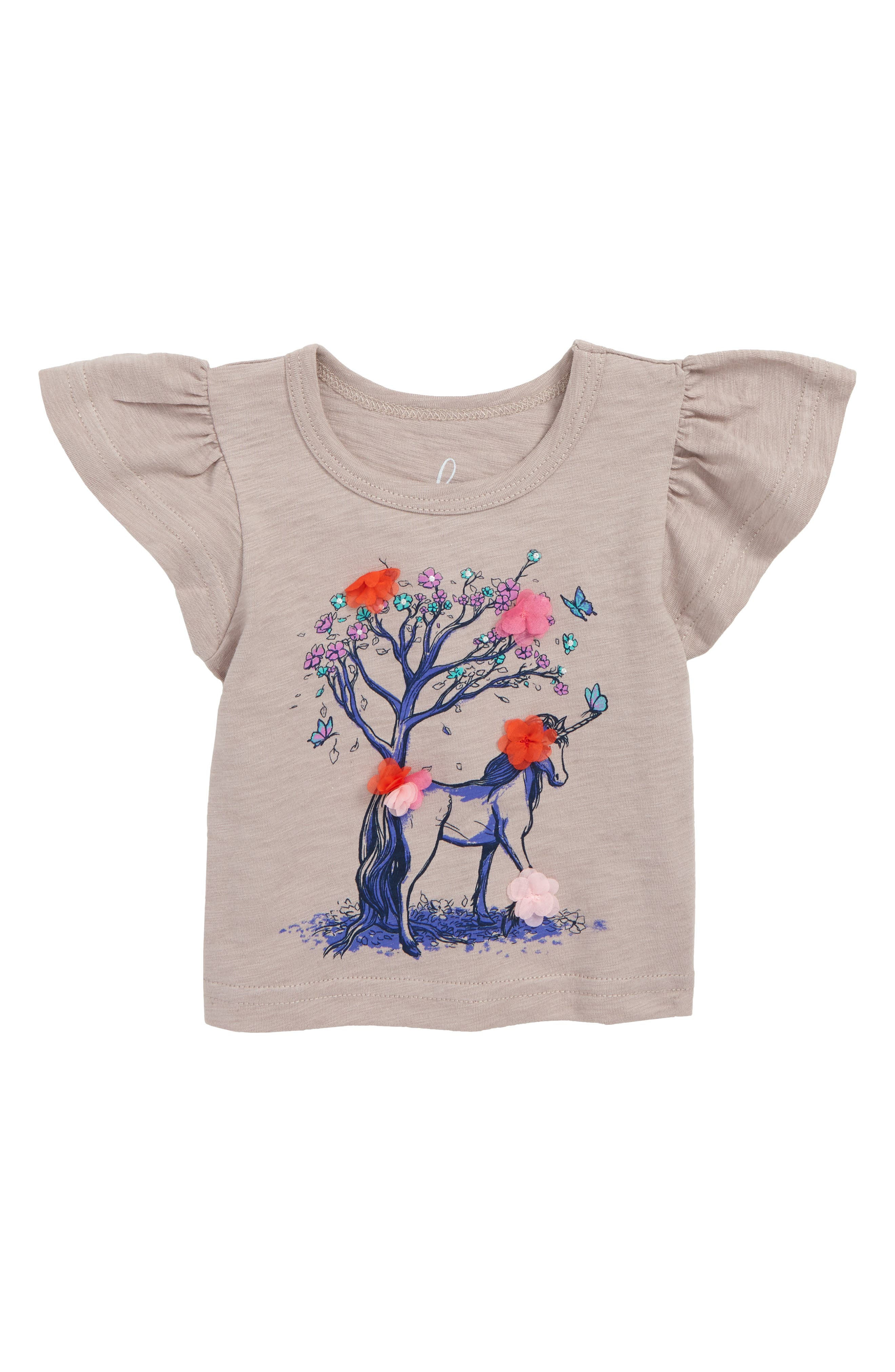 Peek Flower Unicorn Flutter Sleeve T-Shirt, Main, color, 500