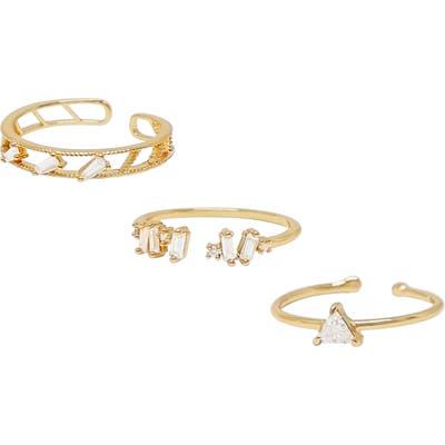 Ettika Set Of 3 Crystal Rings
