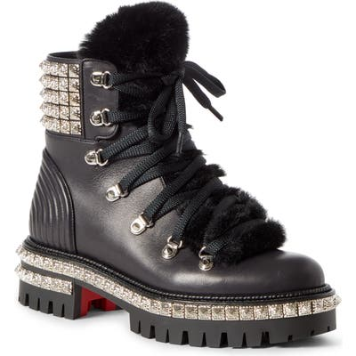 Christian Louboutin Yeti Studded Hiking Boot With Faux Fur Trim, Black