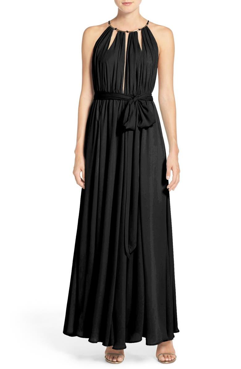LULUS Chiffon Gown, Main, color, 001