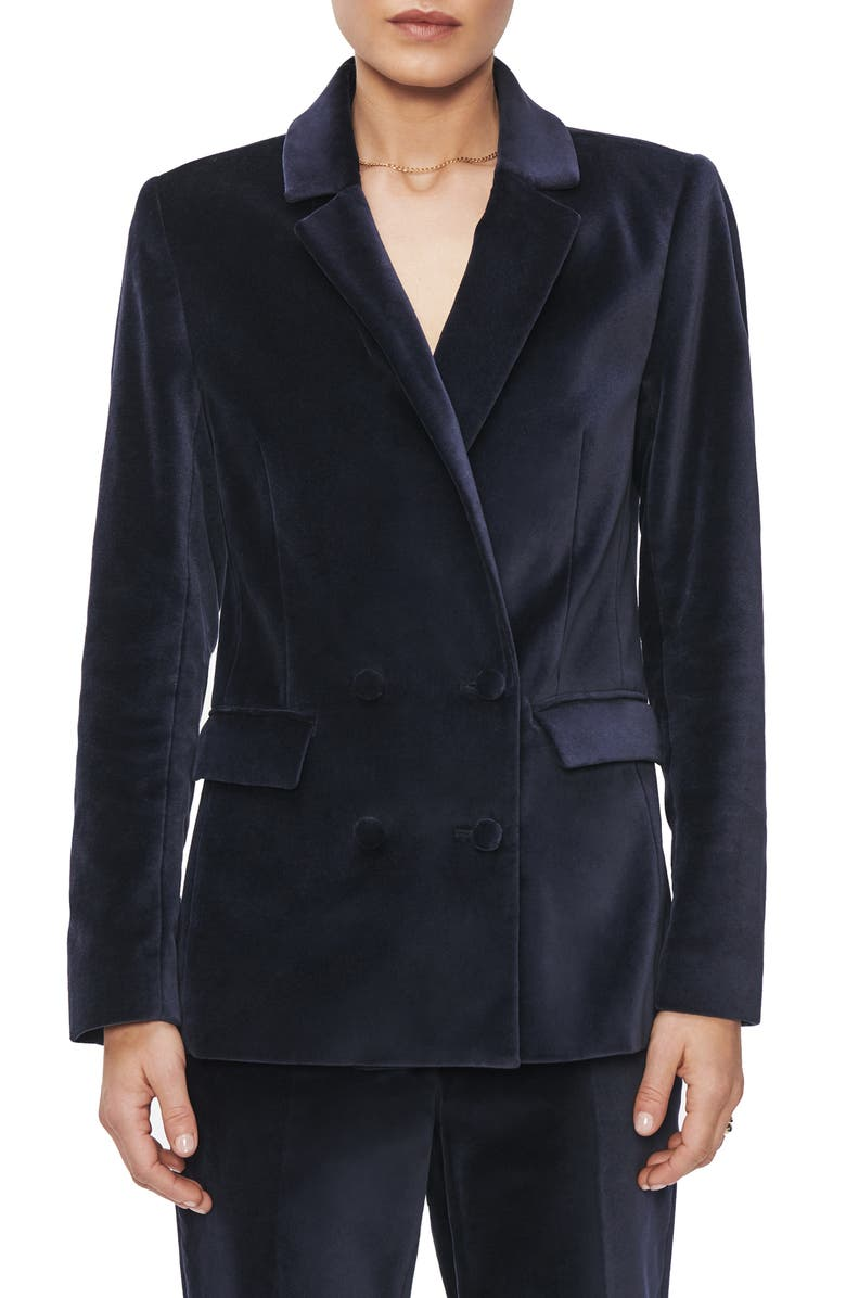 ANINE BING Ella Double Breasted Cotton Velveteen Blazer, Main, color, INK