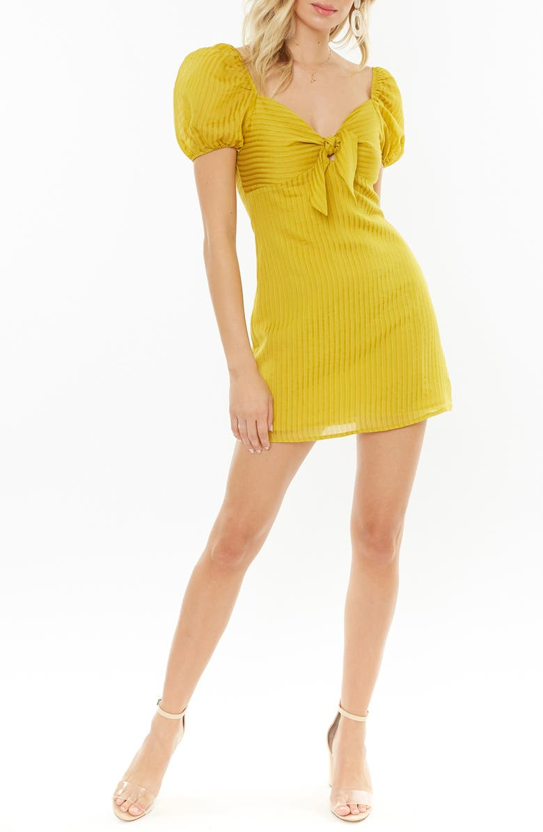 4SI3NNA Shadow Stripe Tie Front Minidress, Main, color, YELLOW