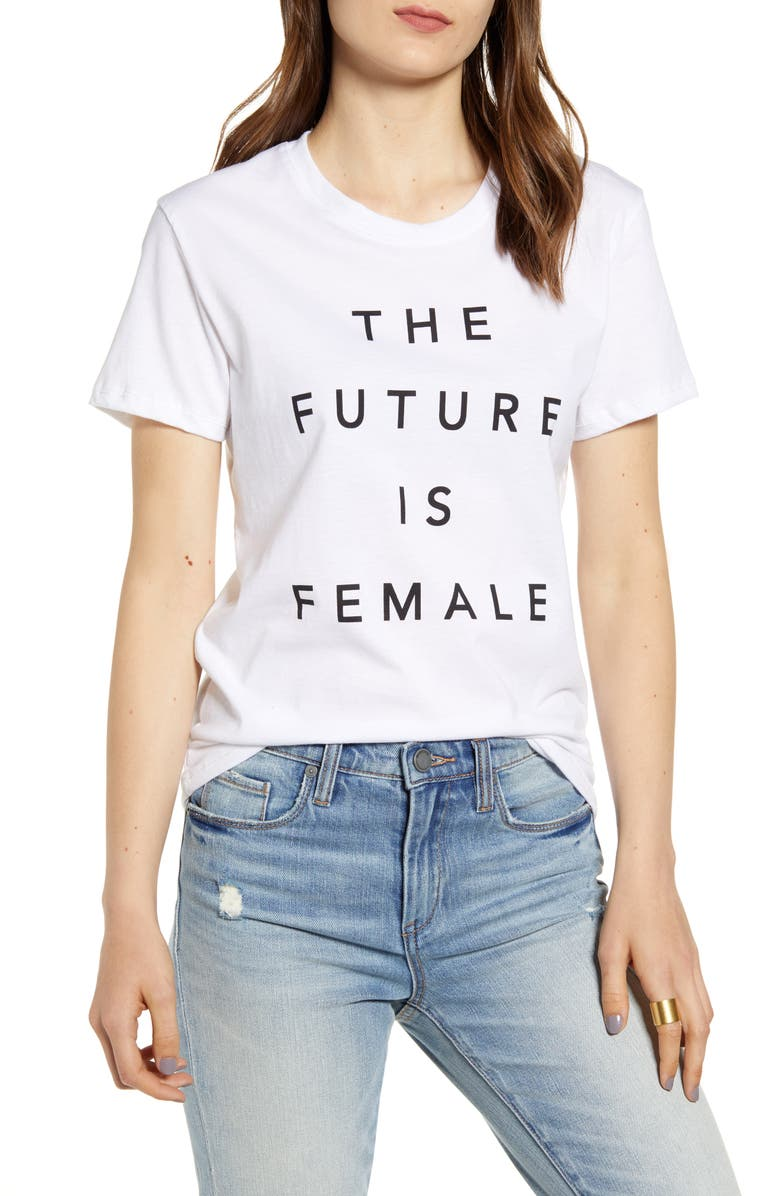 PRINCE PETER The Future Is Female Graphic Tee, Main, color, WHITE