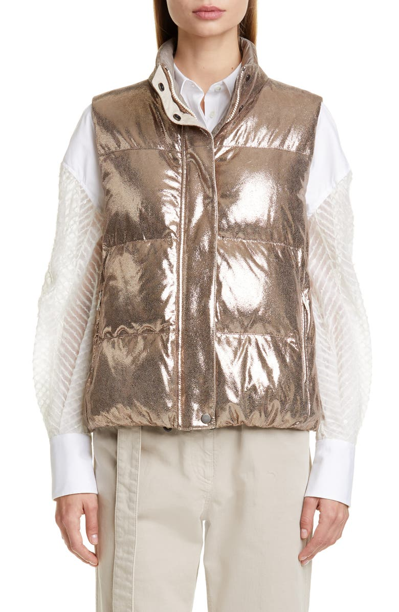 BRUNELLO CUCINELLI Reversible Sparkle Leather Down Puffer Vest, Main, color, GOLD