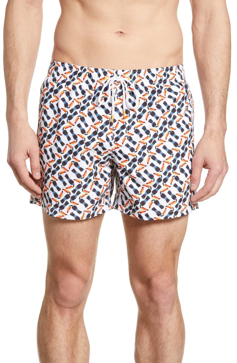 SUNDEK Toucan Volley Swim Trunks, Main, color, WHITE