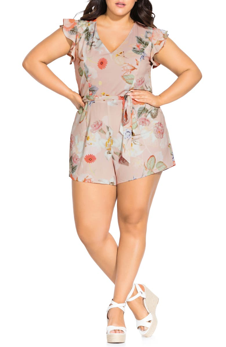 CITY CHIC Summer Rose Romper, Main, color, SUMMER ROSE