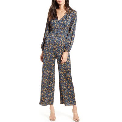 All In Favor Print Button-Up Jumpsuit, Blue/green