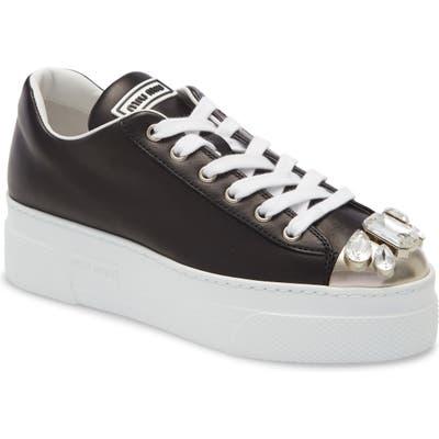 Miu Miu Embellished Metal Toe Platform Sneaker, Black (Nordstrom Exclusive)