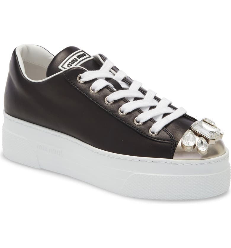 MIU MIU Embellished Metal Toe Platform Sneaker, Main, color, BLACK
