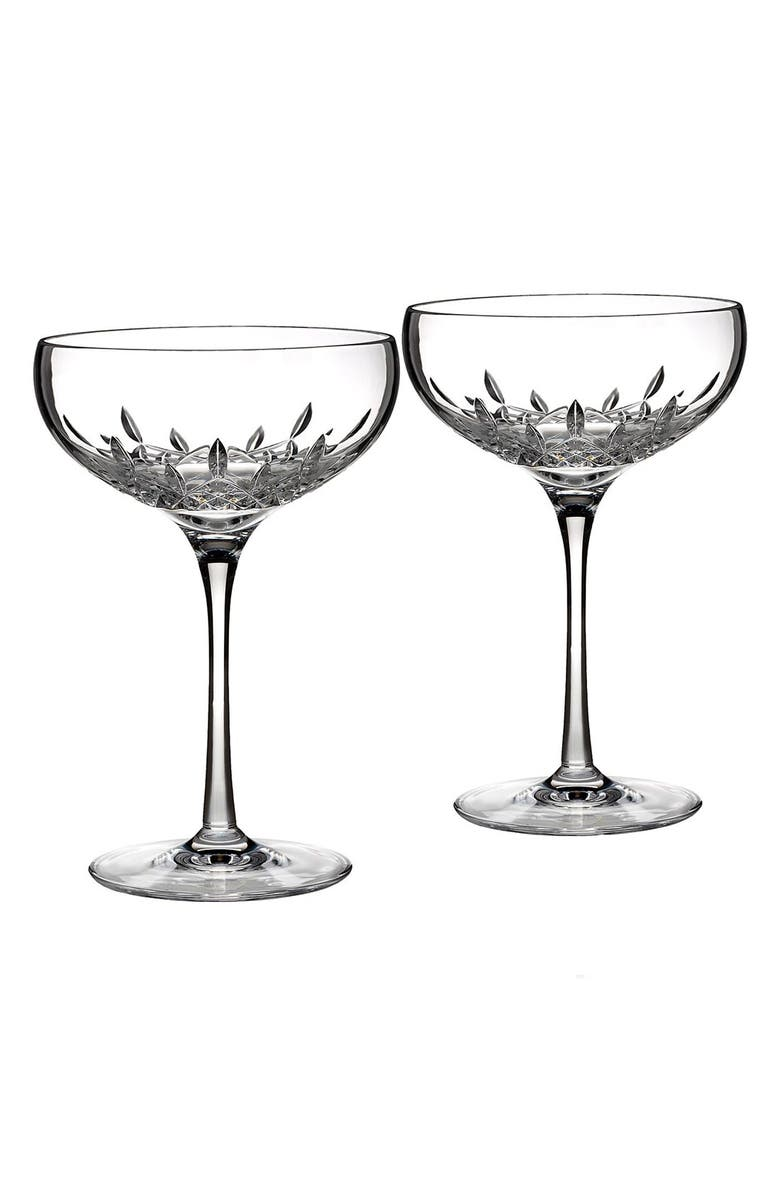 WATERFORD 'Lismore Essence' Lead Crystal Champagne Glasses, Main, color, CLEAR