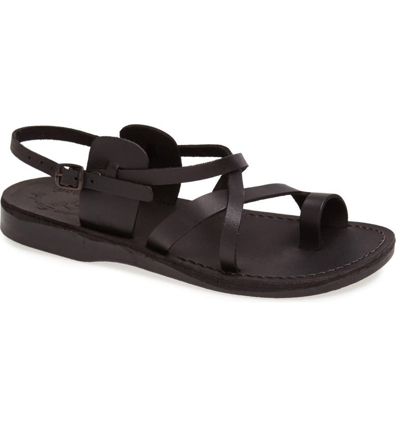 JERUSALEM SANDALS 'The Good Shepherd' Leather Sandal, Main, color, BLACK