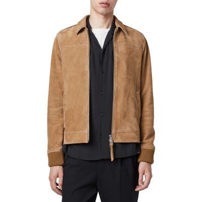 Allsaints Drant Regular Fit Zip Front Suede Jacket, Brown