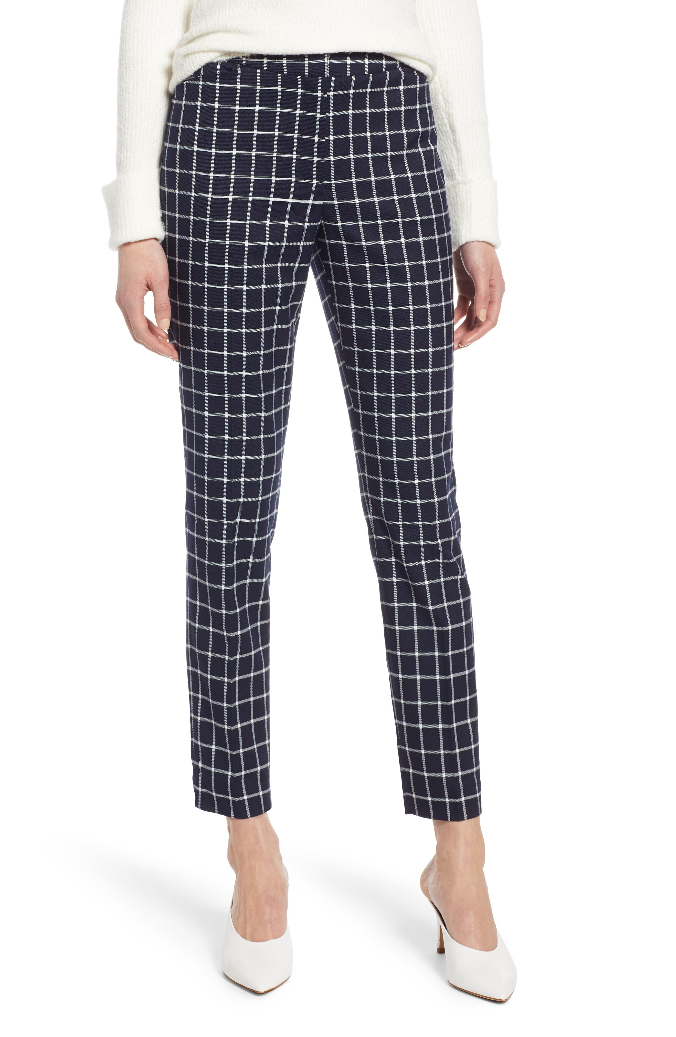 Check Ankle Pants, Main, color, NAVY CHECK