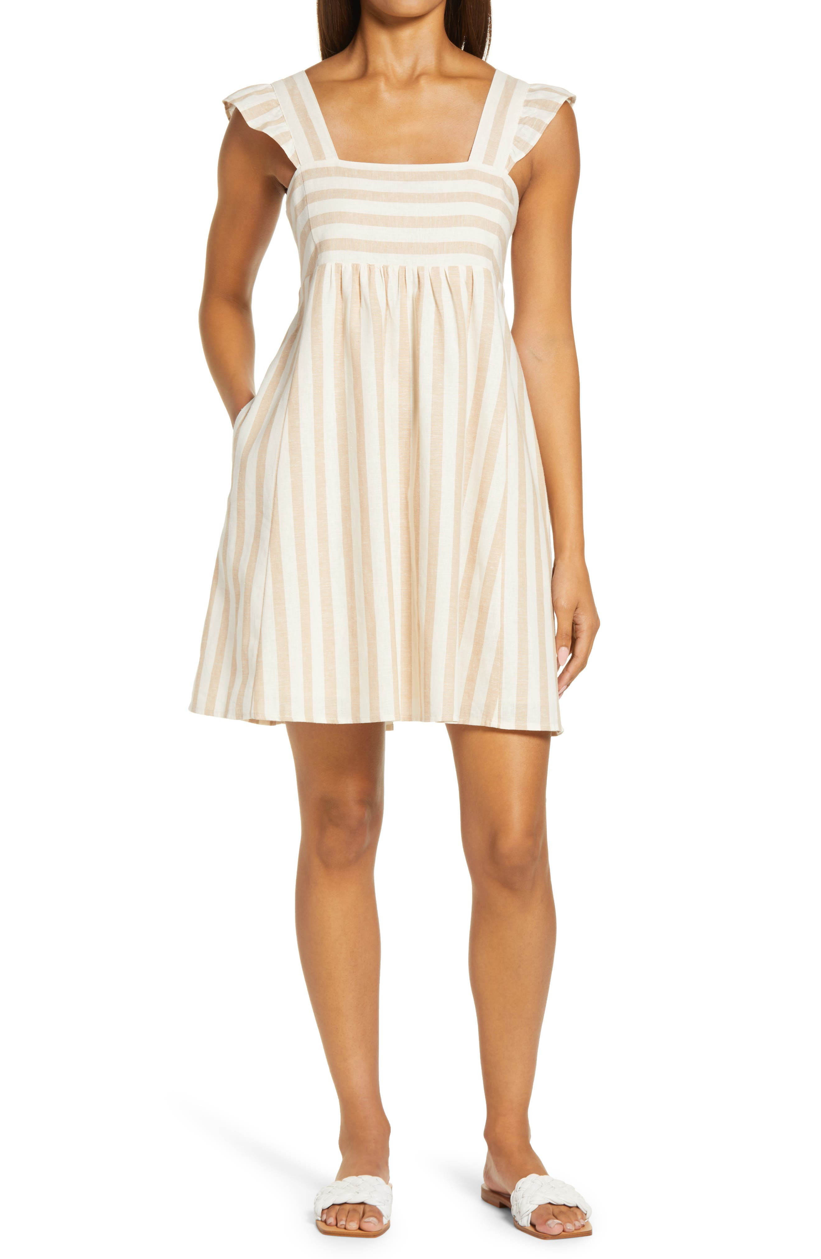 Stripe Linen & Cotton Babydoll Minidress