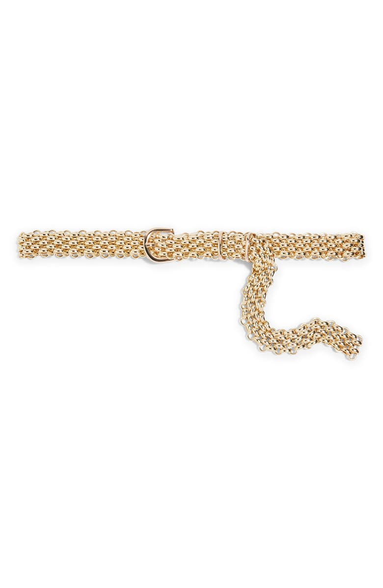 TOPSHOP Chain Link Belt, Main, color, GOLD