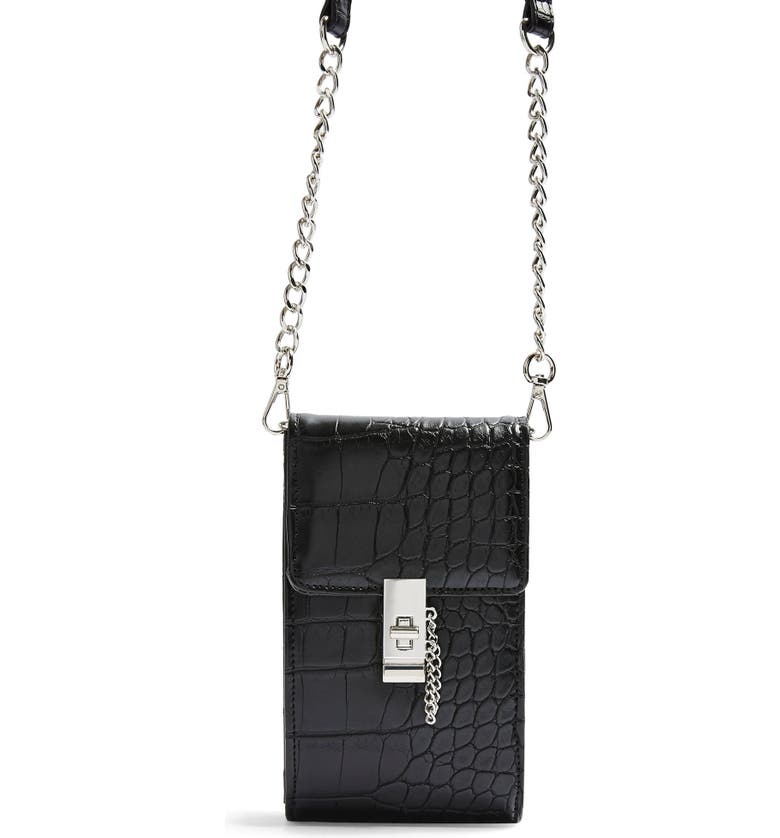 TOPSHOP Catch Croc Embossed Crossbody Bag, Main, color, BLACK