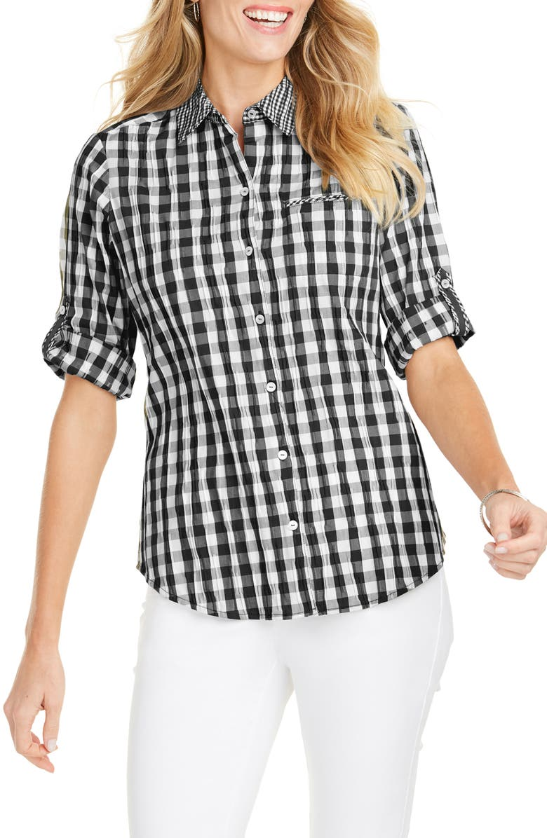 FOXCROFT Reese Crinkle Gingham Shirt, Main, color, 001
