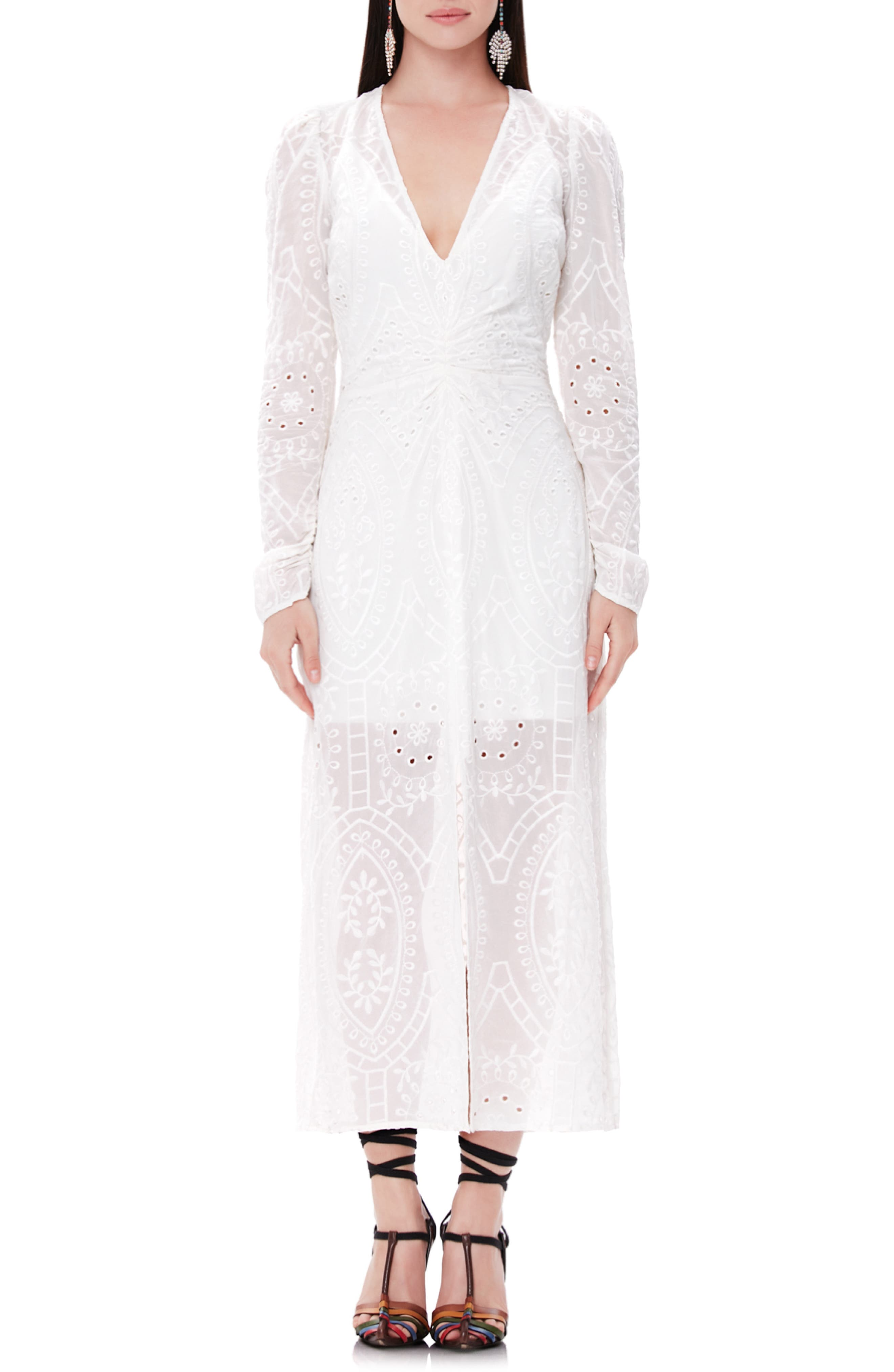 Afrm Madsen Ruched Long Sleeve Midi Dress, White