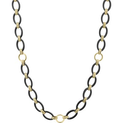 Lagos Gold & Black Caviar Long Oval Link Necklace