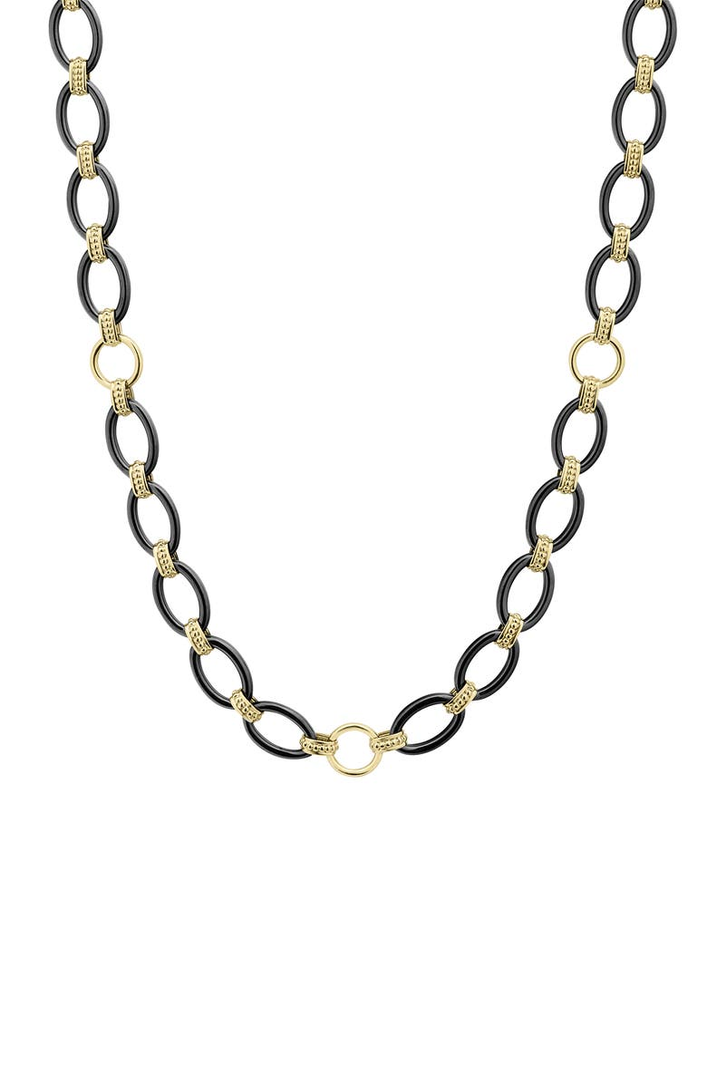 LAGOS Gold & Black Caviar Long Oval Link Necklace, Main, color, GOLD/ BLACK CERAMIC