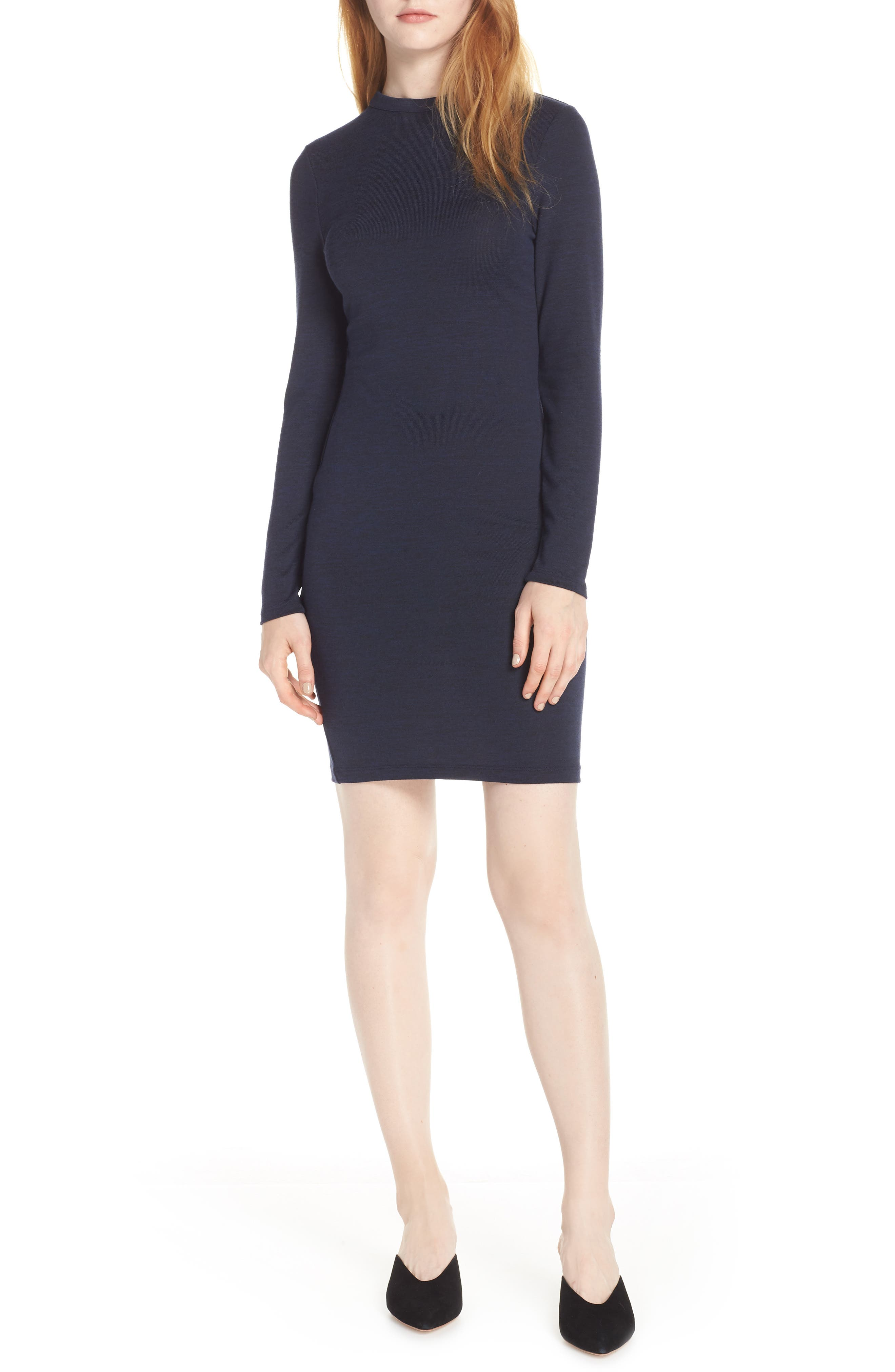 French Connection Body-Con Sweater Dress, Blue