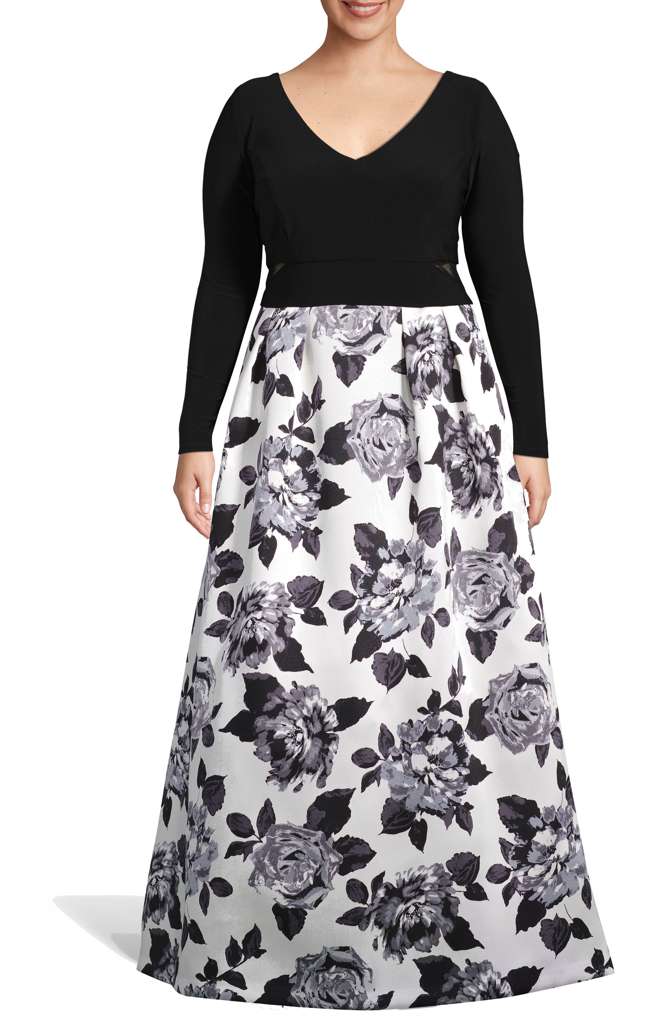 Plus Size Xscape Floral Print Evening Gown, Black