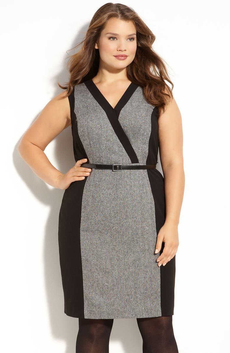 CALVIN KLEIN Colorblock Dress, Main, color, 001