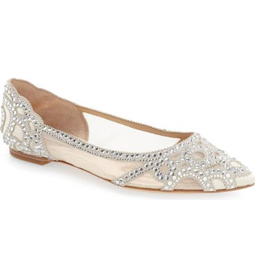 Badgley Mischka Gigi Crystal Pointy Toe Flat, Ivory