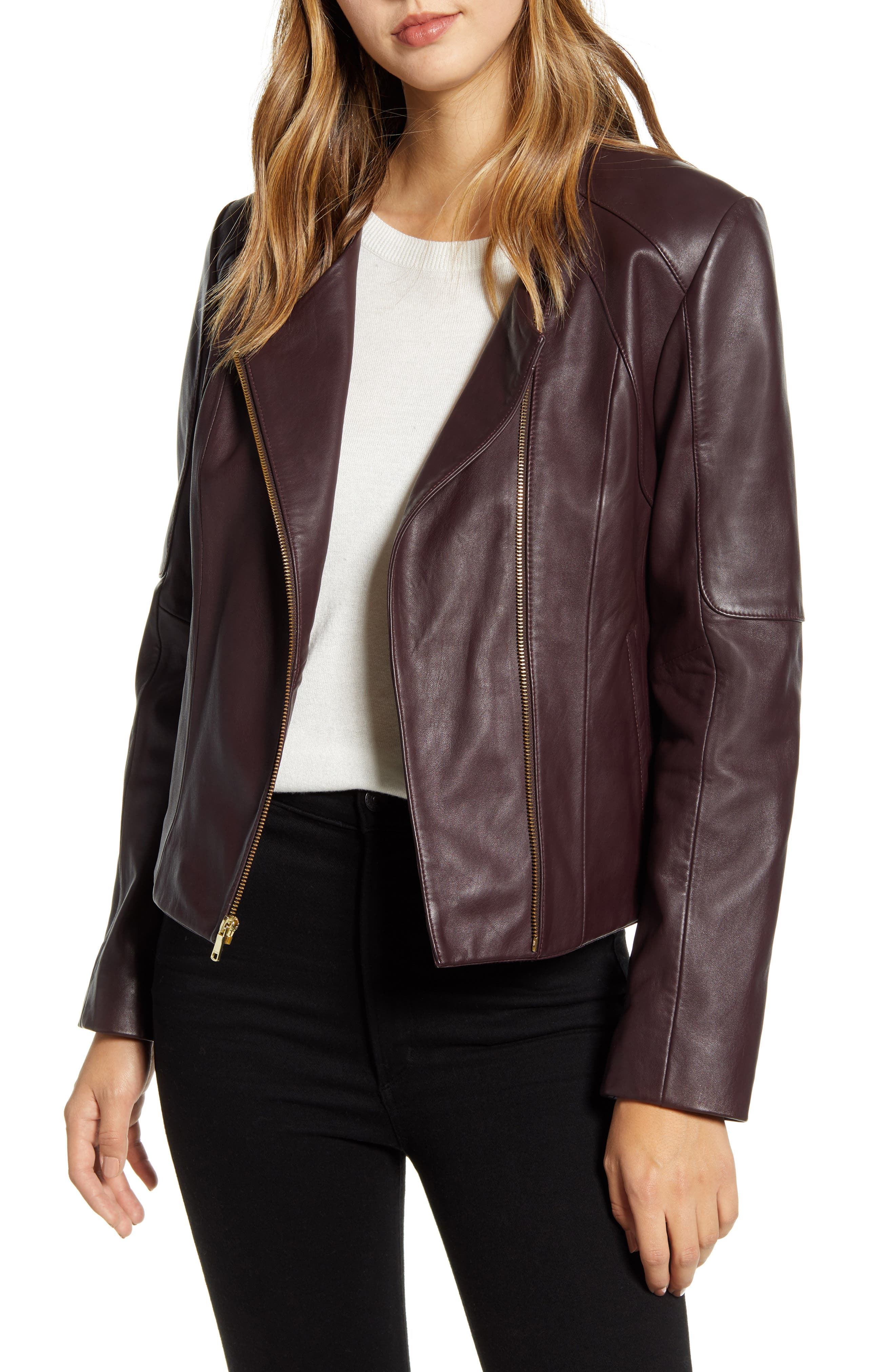 Image of Cole Haan Lambskin Leather Jacket